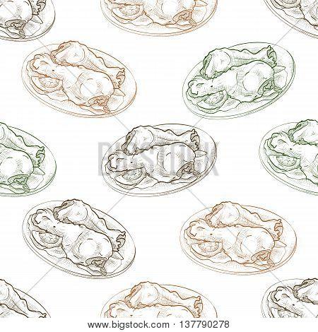Seamless pattern chicken legs scetch. Vector illustration, EPS 10