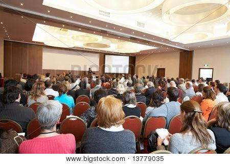 "MOSCOW - OCTOBER 2: Conference ""Stock in Russia 09"" on October 2, 2009 in Holiday Inn Lesnaya, Moscow, Russia. Back view of audience"