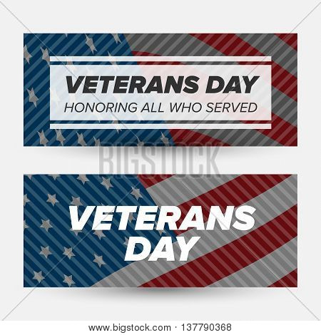 Veteran day banners with usa flag on a background