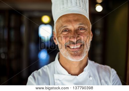 Portrait of smiling chef standing in restaurant
