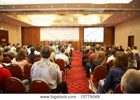 "MOSCOW - OCTOBER 2: Conference ""Stock in Russia 09"" on October 2, 2009 in Holiday Inn Lesnaya, Moscow, Russia.  Back view of listeners"