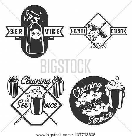 Set of vintage cleaning service emblems, labels and designed elements.