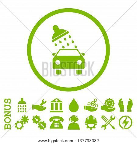 Car Wash glyph icon. Image style is a flat pictogram symbol inside a circle, eco green color, white background. Bonus images are included.