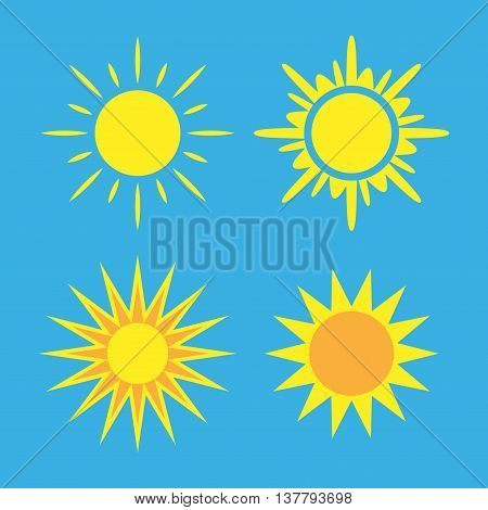 Sun icons set. Collection light yellow signs with sunbeam. Design elements isolated on blue background. Symbol of sunrise heat sunny and sunset morning sunlight. Flat style. Vector Illustration.