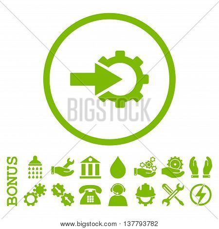 Cog Integration glyph icon. Image style is a flat pictogram symbol inside a circle, eco green color, white background. Bonus images are included.