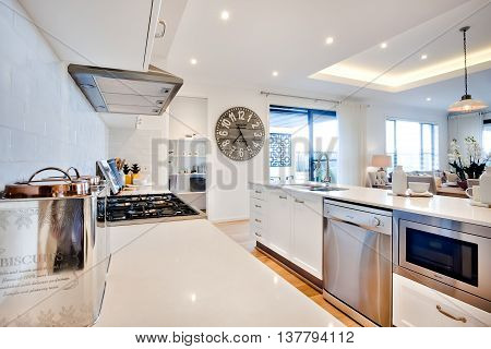 Luxury Kitchen With Modern Items Illuminated With Sunlight