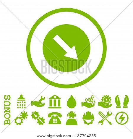Down-Right Rounded Arrow glyph icon. Image style is a flat pictogram symbol inside a circle, eco green color, white background. Bonus images are included.
