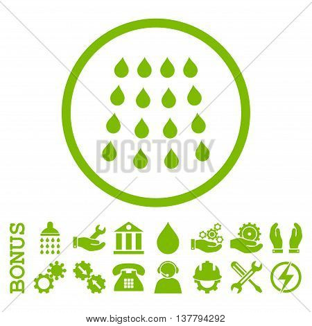 Drops glyph icon. Image style is a flat pictogram symbol inside a circle, eco green color, white background. Bonus images are included.