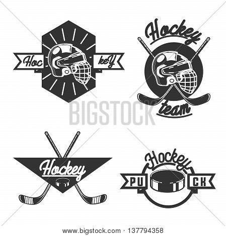 Vintage Ice hockey labels, badges and design elements