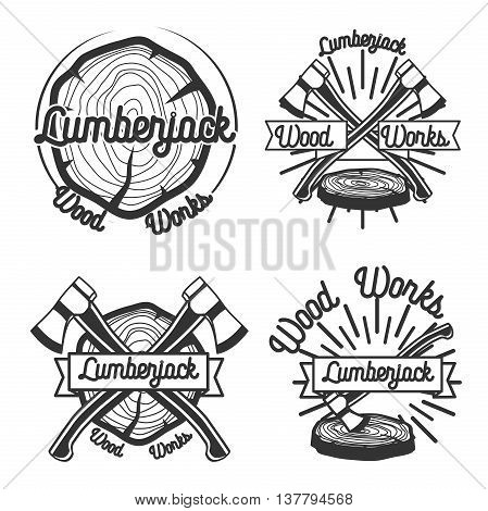 Set of vintage lumberjack labels and design elements. Vector illustration.