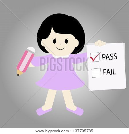 cartoon girl showing the pass result, vector