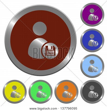 Set of color glossy coin-like Save user account buttons.