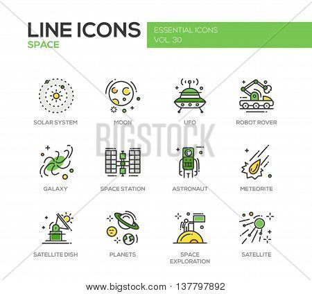 The Space - modern vector line design icons and pictograms set. Solar system, moon, ufo, robot rover, galaxy, space station, astronaut, meteorite, satellite, planets exploration