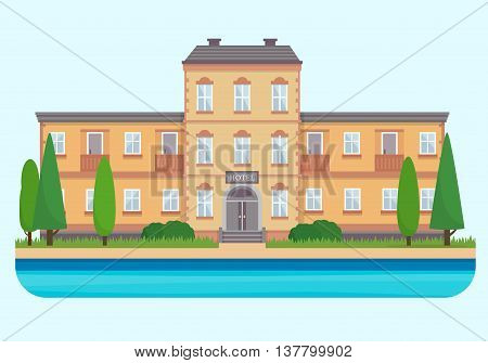 Hotel. Buildings for city construction. Elements of urban background, village and town landscape. Flat style vector illustration.