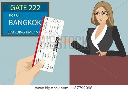 Boarding pass in hand display near gate to board the aircraft and airport stuff vector