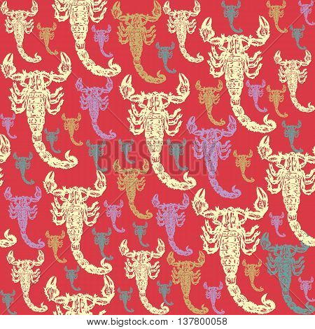 Scorpion colourful seamless vector pattern on red background. Realistic engraved style.