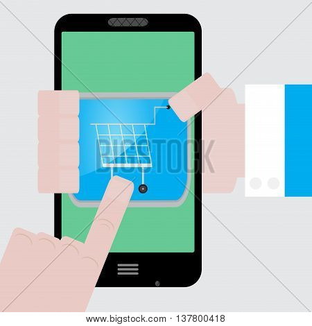 Make purchases apps from your phone. Buy icon and purchase order vector shopping icon or illustration order icon
