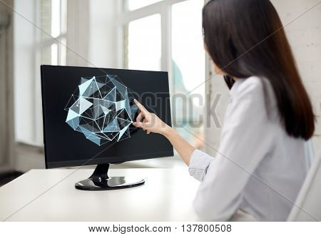 people, business, virtual reality and technology concept - businesswoman touching monitor with virtual low poly shape projection on screen in office