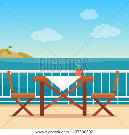 Table and chairs on the balcony with sea landscape. Beach chair with sea on background. Flat style vector illustration.