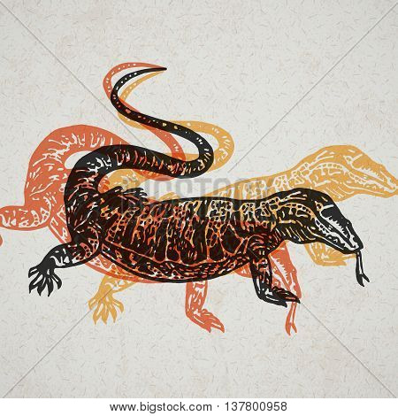 Desert Varan sign. Desert Varan. Vector engraved Illustration. Linocut Varan Isolated on old paper