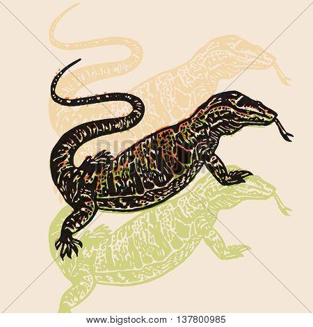 Desert Varan sign. Desert Varan. Vector engraved Illustration. Linocut Varan Isolated on beige background