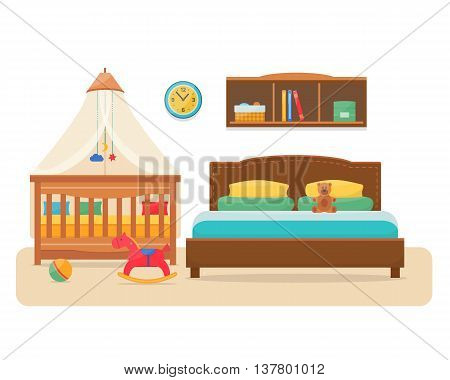 Bedroom with parents bed and baby cot. Nursery interior. Welcome, little baby. Flat style vector illustration.