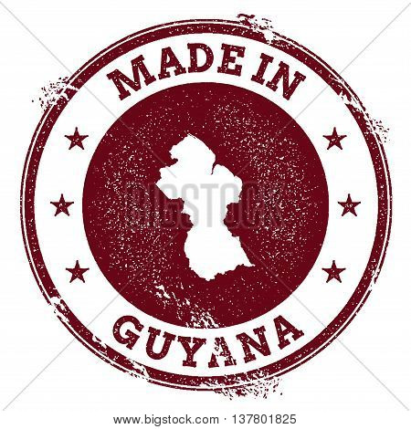 Guyana Vector Seal. Vintage Country Map Stamp. Grunge Rubber Stamp With Made In Guyana Text And Map,
