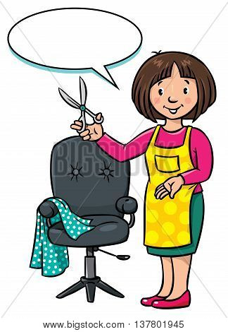 Children vector illustration of funny woman hairdresser with scissors near the barber chair. Profession ABC series. With balloon for text.