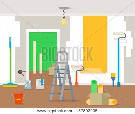 Room repair in home. Interior renovation in apartment and house. Flat style vector illustration.