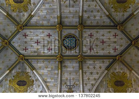 CHANTILLY, FRANCE - MAY 14, 2015: This is arched vault of the chapel in the castle of Chantilly.