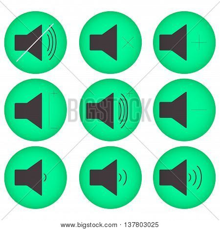 Sound controls button set flat round. Interface web button multimedia mute and audio music volume vector illustration
