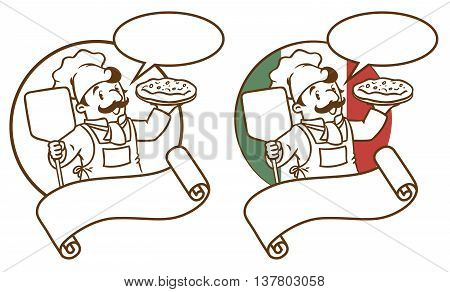 Emblem of funny cook or chef or baker with pizza on background colors of the Italian flag. Two monochrome version. Children vector illustration. With balloon for text and cartouche.