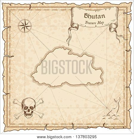 Bhutan Old Pirate Map. Sepia Engraved Template Of Treasure Map. Stylized Pirate Map On Vintage Paper
