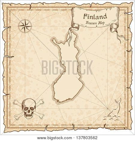 Finland Old Pirate Map. Sepia Engraved Template Of Treasure Map. Stylized Pirate Map On Vintage Pape