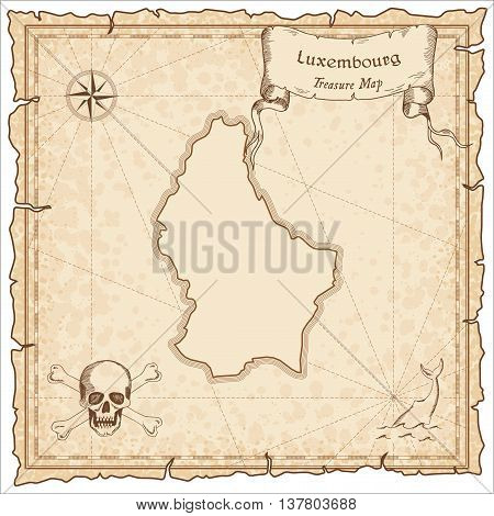 Luxembourg Old Pirate Map. Sepia Engraved Template Of Treasure Map. Stylized Pirate Map On Vintage P