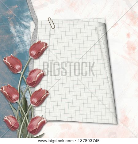 Old Paper Hand-drawn Background With Tulips