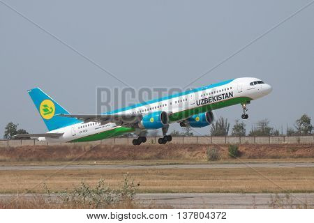 Simferopol Ukraine - September 13 2010: Uzbekistan Airways Bowing 757-200 is taking off from the airport