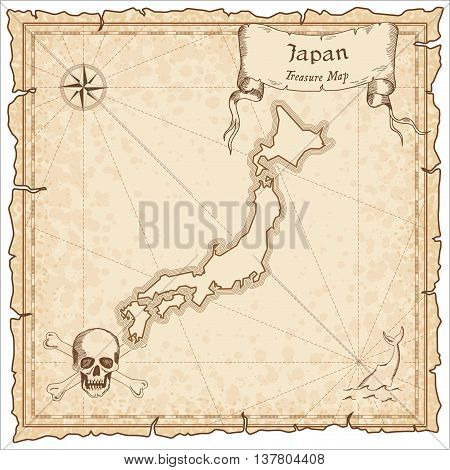 Japan Old Pirate Map. Sepia Engraved Template Of Treasure Map. Stylized Pirate Map On Vintage Paper.