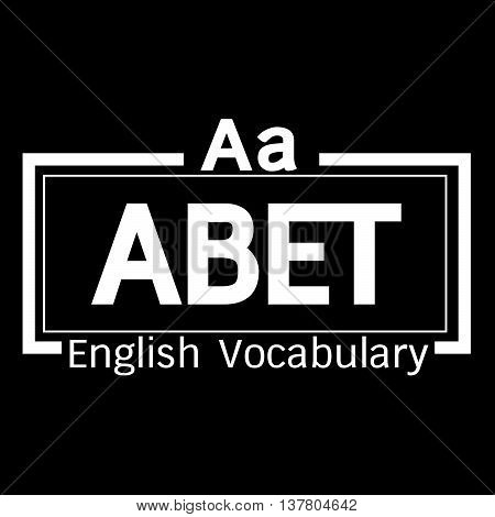 an images of ABET english word vocabulary illustration design