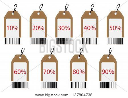 Label with discount. Tag and lable set of clothing labels. Vector illustration