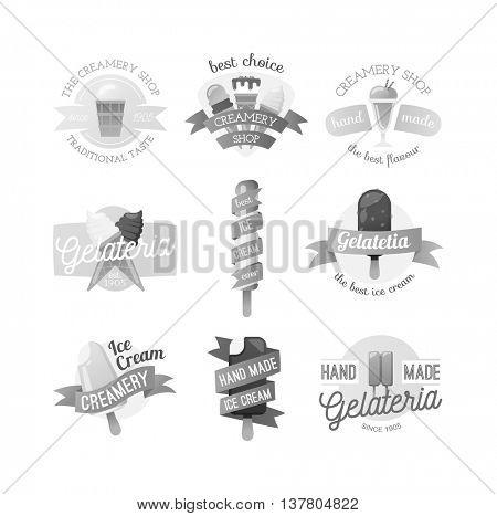 Icecream badge food vector.