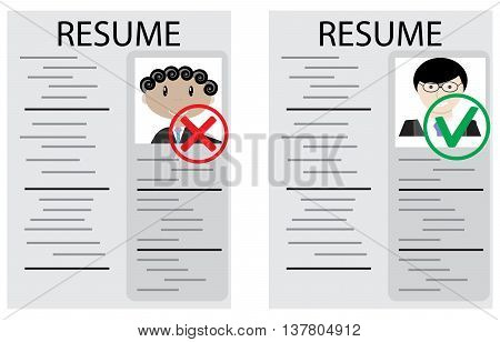 Approval and rejection hiring. Job and now hiring interview and career. Vector illustration