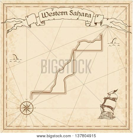 Western Sahara Old Treasure Map. Sepia Engraved Template Of Pirate Map. Stylized Pirate Map On Vinta