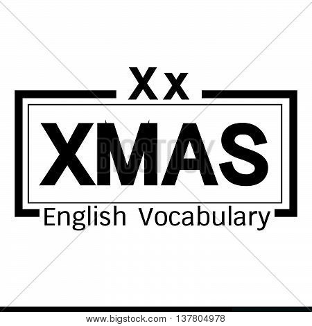 an images of XMAS english word vocabulary illustration design