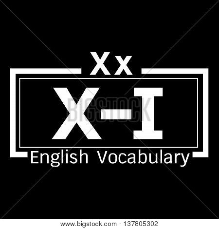 an images of X-I english word vocabulary illustration design