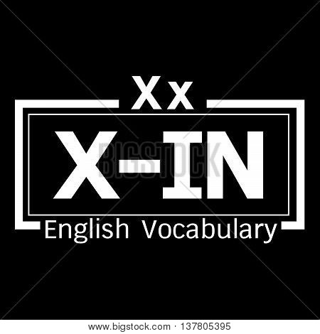 an images of X-IN english word vocabulary illustration design
