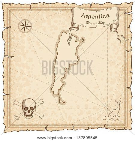 Argentina Old Pirate Map. Sepia Engraved Template Of Treasure Map. Stylized Pirate Map On Vintage Pa