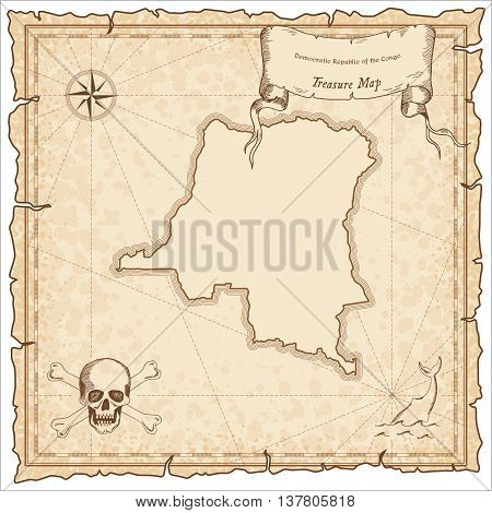 Congo, The Democratic Republic Of The Old Pirate Map. Sepia Engraved Template Of Treasure Map. Styli