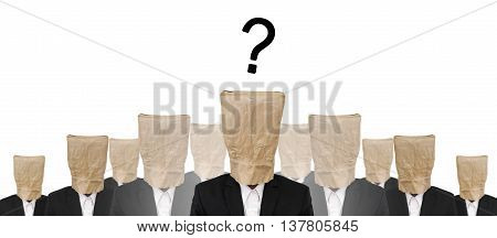 Group of businessman suit with brown paper bag on head, and Question mark