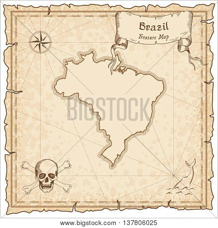 Brazil Old Pirate Map. Sepia Engraved Template Of Treasure Map. Stylized Pirate Map On Vintage Paper